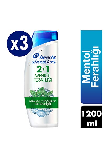 Head & Shoulders 2'si 1 Arada Kepek Karşıtı Şampuan Mentol Ferahlığı 400 ml X 3