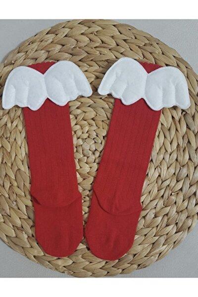 Kız Çocuk Kırmızı Melek Kanatlı Çorap- Mlkytrrr