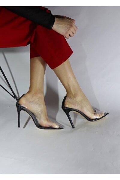 Kadın Siyah Şeffaf  Klasik Topuklu Ayakkabı
