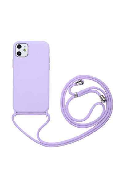 Apple Iphone 11 Boyun Askılı Silikon Kılıf (kadife Iç Yüzey Şık Tasarım) Mor