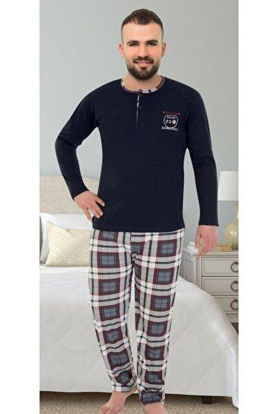 Düğmeli Yaka Ekose Pantolonlu Pijama Takımı