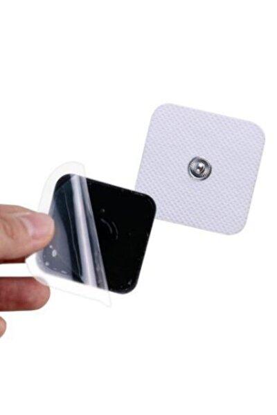 Kendinden Jelli 4 Adet 5x5 Cm Tens Pedi Çıtçıtlı Tens Cihazı Elektrodu Kare Tens Elektrodu