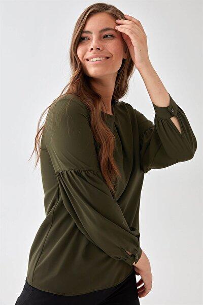 Kadın Yeşil Balon Kol Bluz K21BL031