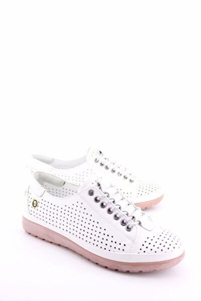 Kadın Beyaz Gerçek Deri Ortopedik Günlük Ayakkabı