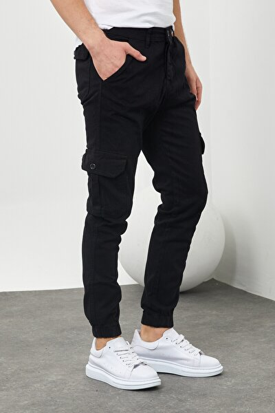 Erkek Riklalı Paçası Lastikli Kargo Cep Pantolon Siyah