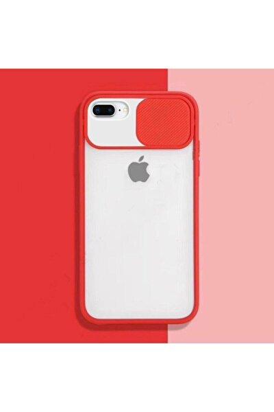Kırmızı Iphone 7 Plus 8 Plus Sürgülü Kamera Korumalı Silikon Kılıf