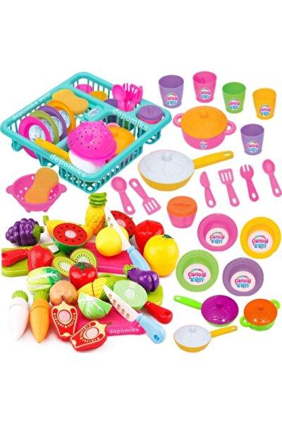 Frozen Oyuncak Bulaşıklık Tabak Tencere Set + 22 Parça Kesilebilen Oyuncak Meyve Sebze Set