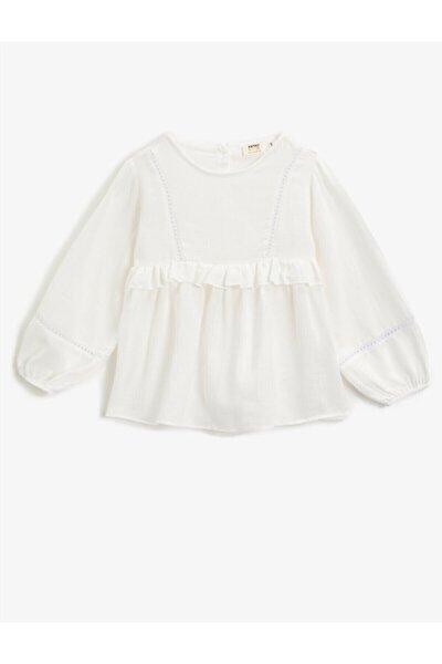 Kız Çocuk Beyaz Fırfırlı Pamuklu Uzun Kollu Bluz