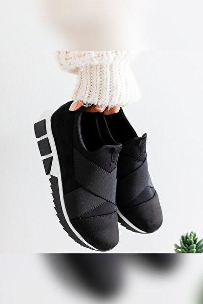 Kadın Siyah Kenia Süet Streç Çapraz Lastik Detaylı Sneakers