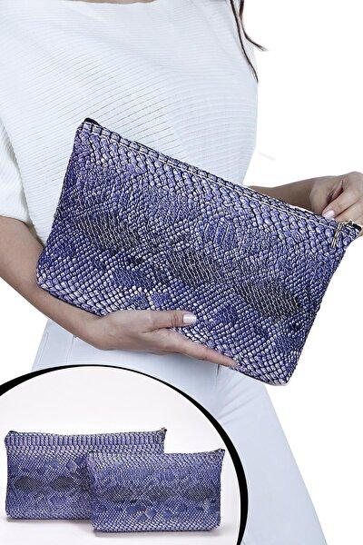 Kadın Mavi Portföy Clutch Çanta Seti 2'li