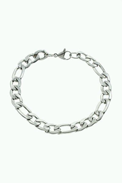 Çelik Figaro Künye Erkek Kadın Bileklik Zincir 20 Cm