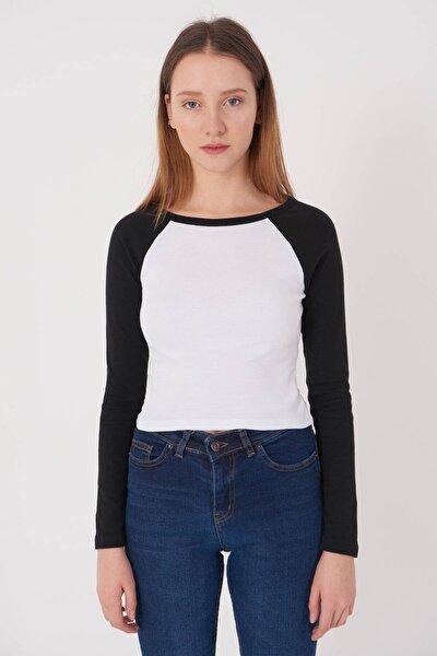 Kadın Siyah-Beyaz Uzun Kollu Bluz P1082 - L3 ADX-0000023308