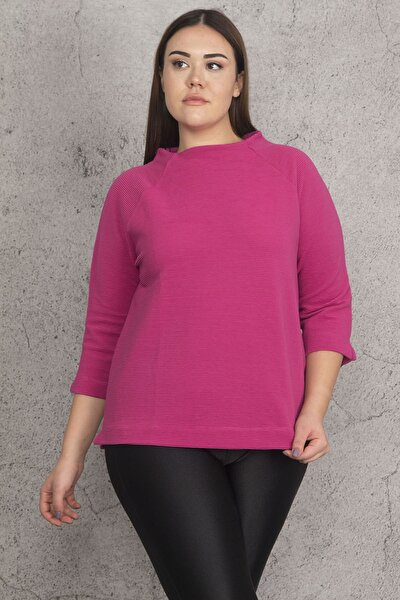 Kadın Fuşya Reglan Kol Dik Yakalı Kapri Kollu Kendinden Çizgili Bluz 65N20492