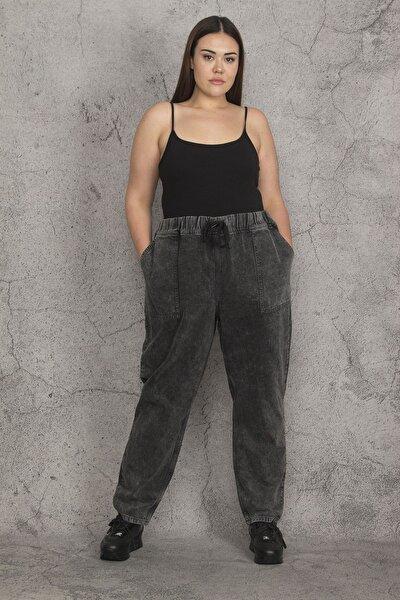 Kadın Antrasit Kar Yıkama Efektli Beli Lastik Ve Bağcık Detaylı Dıştan Cepli Kot Pantolon 65N21983