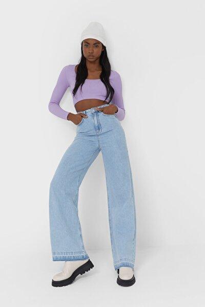 Kadın Mavi Ekstra Geniş Paça Jean