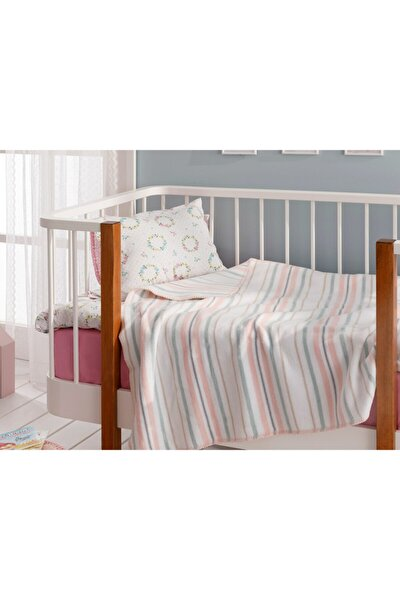 Softy Stripe Pamuklu Bebe Battaniye 100x120 Cm Pembe