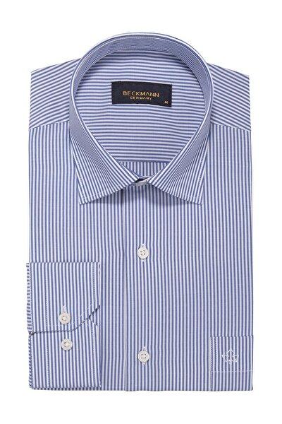 Mavi Çizgili Klasik Kalıp Cepli Gömlek 316671