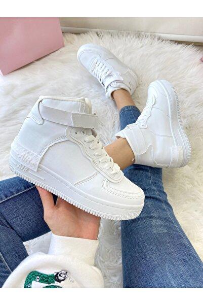 Kadın Bıleklı Beyaz Spor Ayakkabı