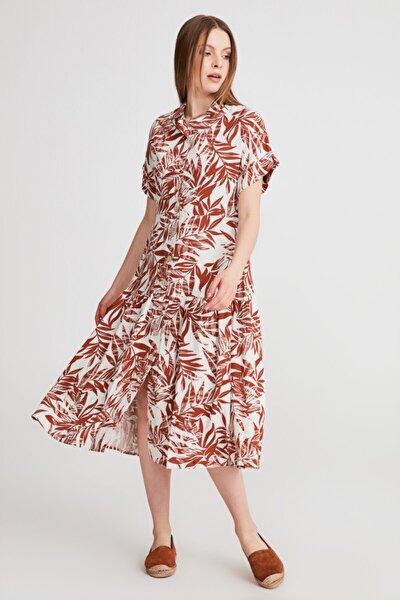 Palmiye Desenli Elbise - Kahve