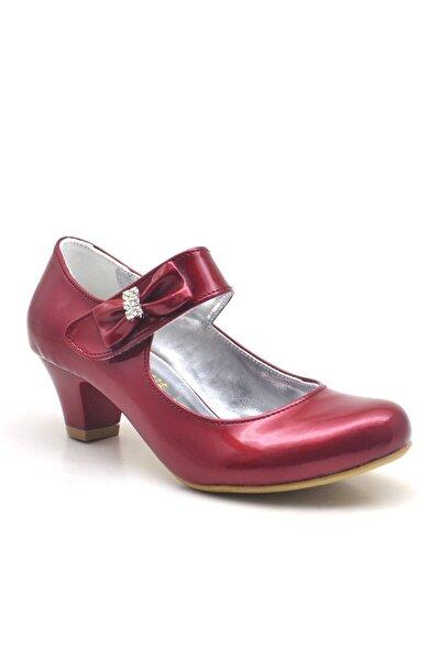 Bordo Rugan Taşlı Kırmızı Topuklu Kız Çocuk Abiye Ayakkabı