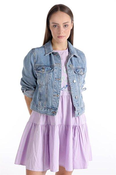 Lila Çiçek Nakışlı Mini Elbise