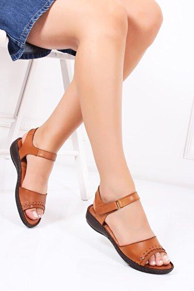 Hakiki Deri Taba Kadın Deri Sandalet Dc-0181