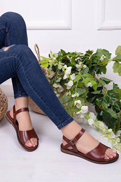 Hakiki Deri Kahverengi Kadın Deri Sandalet Dp-0086