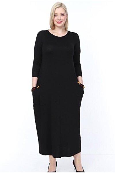 Kadın Cepleri Püsküllü Uzun Kollu Viskon Siyah Elbise