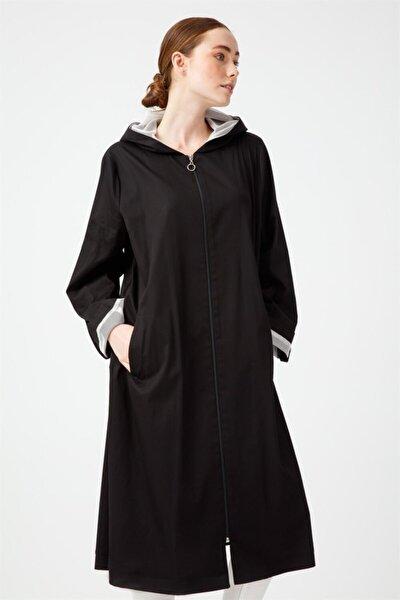 Büyük Beden Kapüşonlu Trenchcoat Siyah
