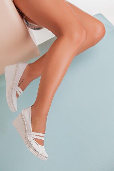 Hakiki Deri Beyaz Kadın Dolgu Topuklu Deri Ayakkabı Ars-0135