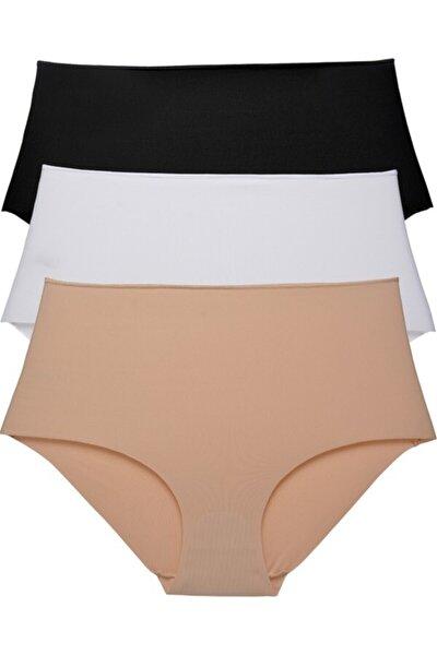 3 Lü Paket Yüksek Bel Slip Külot - Siyah/beyaz/ten Rengi