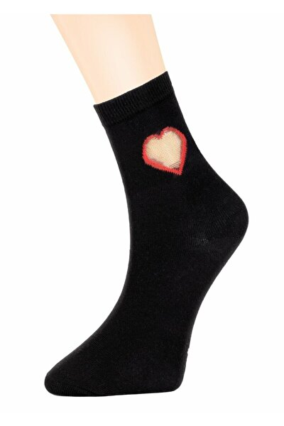 Tulle Heart Soket Çorap