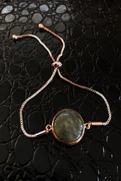 Dr Stone Doğaltaş Kadın Labradorit Vintage Bronz Bileklik Z121ar359