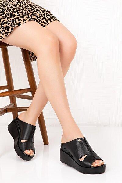 Hakiki Deri Kadın Dolgu Topuk Terlik - Siyah C1407s