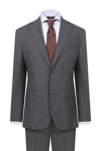 Bordo Çizgili Antrasit Takım Elbise
