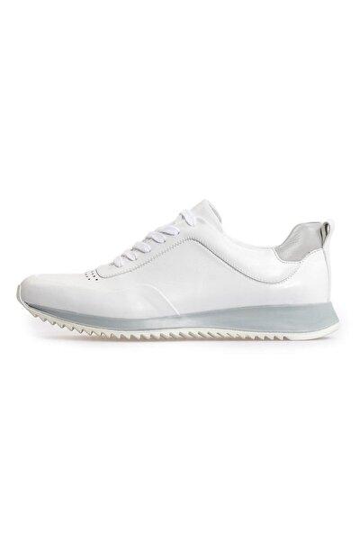 Beyaz Deri Bağcıklı Sneakers