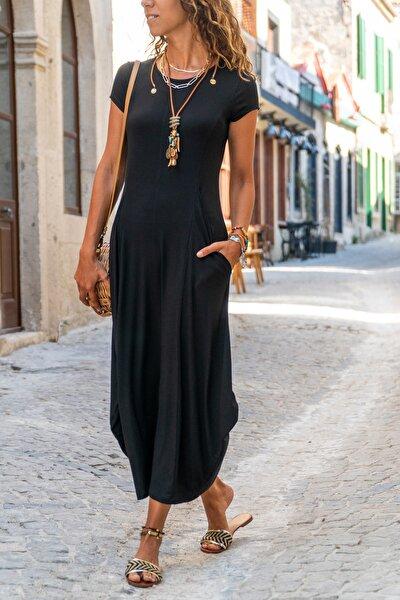 Kadın Siyah Yanı Cepli Asimetrik Salaş Elbise Gk-td412