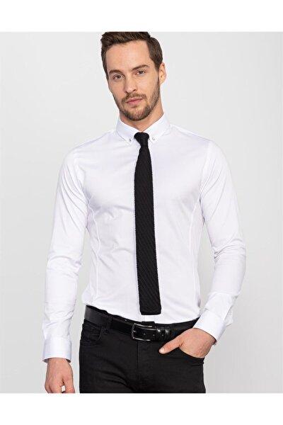 Süper Slim Fit Likralı Beyaz Gömlek