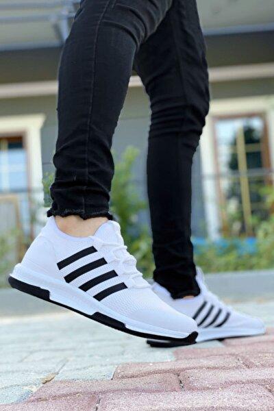 Beyaz Çizgili Hafif Triko Erkek Spor Ayakkabı