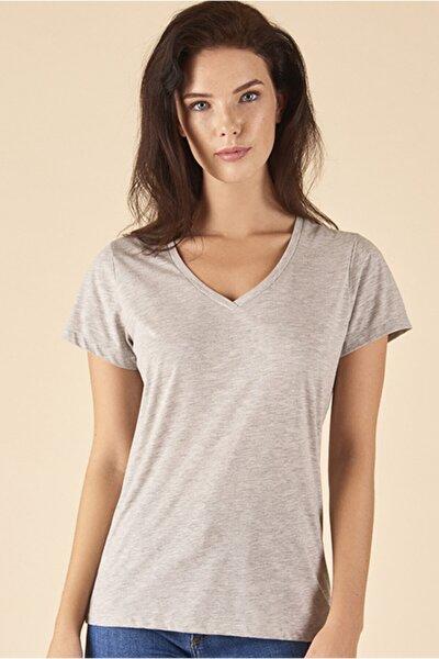 Gri V Yaka T-shirt