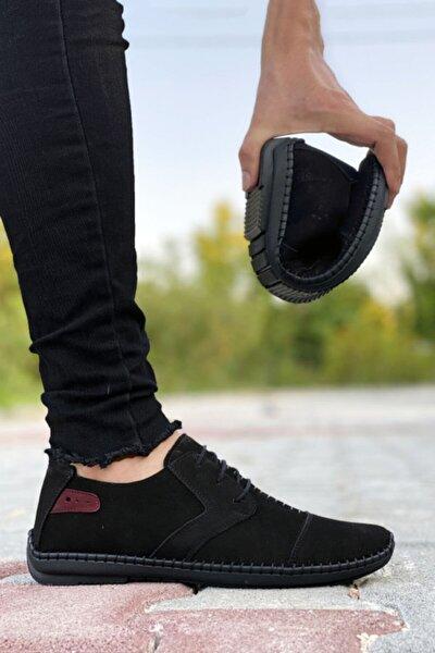 Hakiki Deri Siyah Çarık Model Erkek Ayakkabı