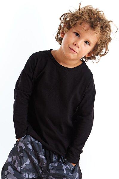 Unisex Çocuk Siyah Basic Dikiş Detaylı Tshirt
