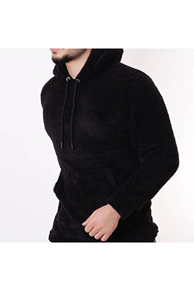 Unisex Siyah Peluş Kapüşonlu Sweatshirt