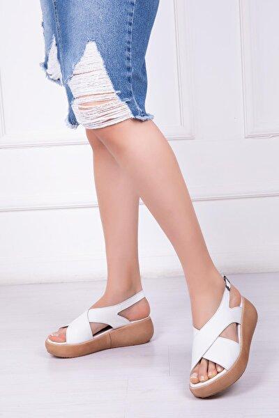 Hakiki Deri Beyaz Kadın Deri Sandalet Dp-20669