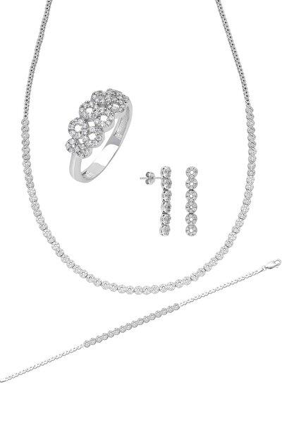 Su Yolu Gümüş Kolye Küpe Bileklik Yüzük Set Ef96