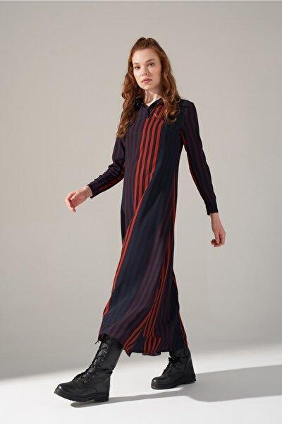 Desenli Gömlek Yaka Elbise (Mor)