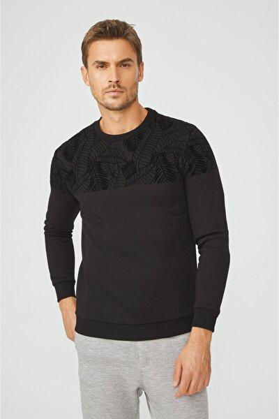 Erkek Siyah Bisiklet Yaka Flok Baskılı Sweatshirt A02y1049