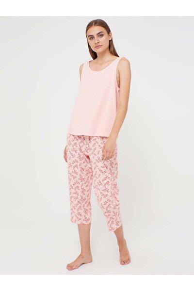 Kadın Açık Pembe Baski  Pijama Takım