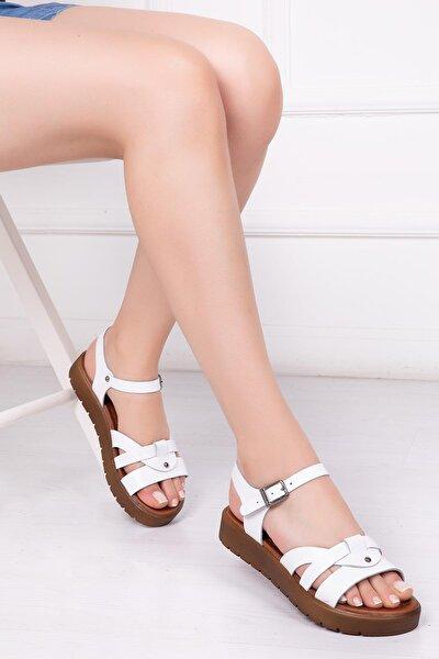 Hakiki Deri Beyaz Kadın Deri Sandalet Dp-1014