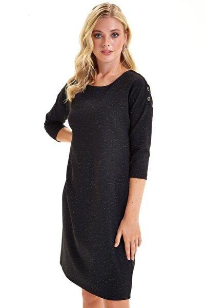 Omuzları Simli Metal Aksesuarlı Elbise 201-2515